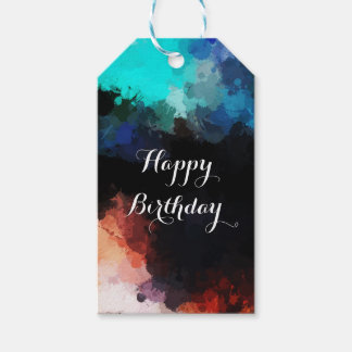 Modern Abstract Paint Splatters Birthday Gift Tags