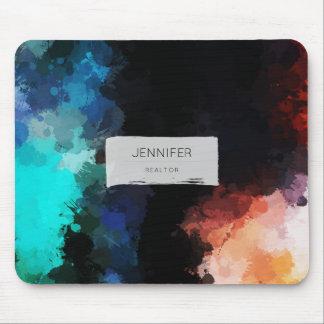 Modern Abstract Paint Splatters Black Orange Blue Mouse Mat