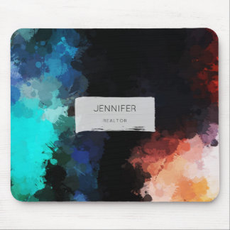 Modern Abstract Paint Splatters Black Orange Blue Mouse Pad