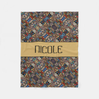 Modern Abstract Pattern Custom Name Fleece Blanket