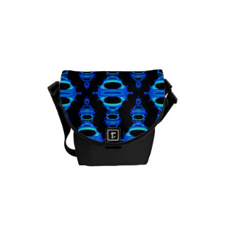 Modern Abstract Pattern Dividers 03 Blue Black Messenger Bags