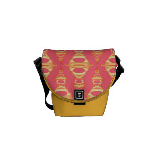 Modern Abstract Pattern Dividers 03 Gold over Pink Commuter Bags