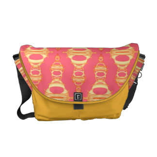 Modern Abstract Pattern Dividers 03 Gold over Pink Messenger Bags