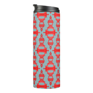Modern Abstract Pattern Dividers 03 Red Gray Thermal Tumbler