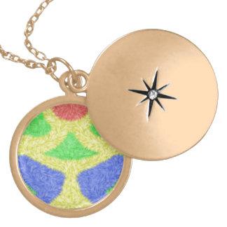 Modern abstract pattern round locket necklace