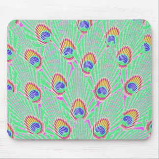 Modern Abstract Peacock Feather Pattern Peafowl Mousepads