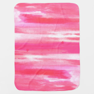 Modern Abstract Pink Strokes Baby Blanket