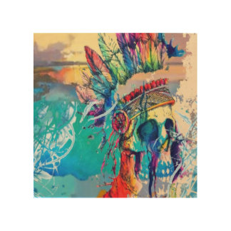 Modern Abstract Rainbow Chief Skull print Wood Prints