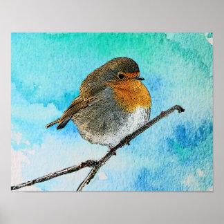 Modern abstract Robin bird on watercolor splatter Poster