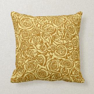 Modern Abstract Rose Pattern, Mustard Yellow Cushions