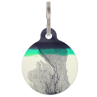 Modern Abstract Sea Coral Reef on Beach Background Pet ID Tag