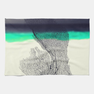 Modern Abstract Sea Coral Reef on Beach Background Tea Towel