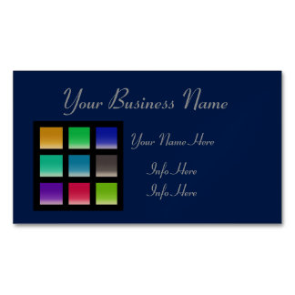 Modern Abstract Squares Pattern Magnetic Business Cards