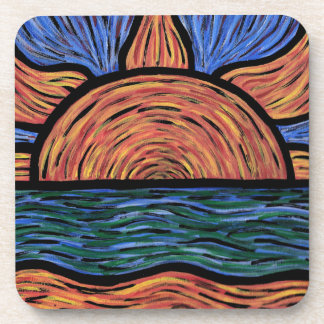 Modern Abstract Sunrise Blue And Orange Coaster