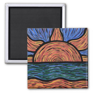 Modern Abstract Sunset Colors In Motion Magnet