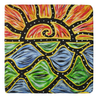 Modern Abstract Sunset Colors In Motion Trivet