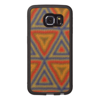 Modern abstract triangle pattern wood phone case