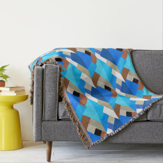 Modern Abstract Triangles, Cobalt Blue and Brown Throw Blanket