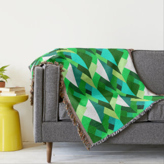 Modern Abstract Triangles, Emerald Green and Aqua Throw Blanket