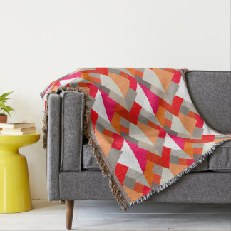 Modern Abstract Triangles, Orange, Fuchsia, and Gr Throw Blanket