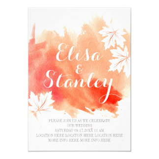 Modern abstract watercolor coral peach wedding card