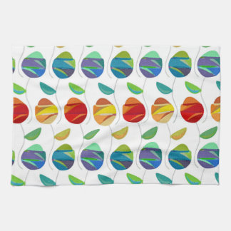Modern abstract watercolor floral pattern tea towel