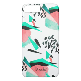 Modern Abstract Watercolor Pattern with Your Name iPhone 8 Plus/7 Plus Case
