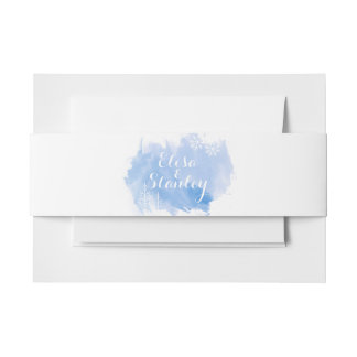 Modern abstract watercolor splash blue wedding invitation belly band