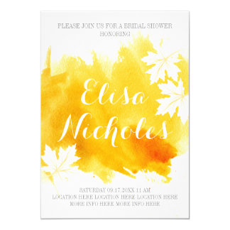 Modern abstract watercolor yellow bridal shower card