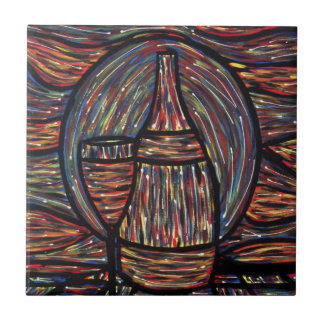 Modern Abstract Wine Bottle And Glass Tile