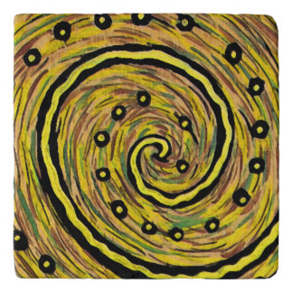 Modern Abstract Yellow Painting Trivet