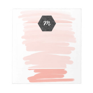 Modern acrylic pink coral ombre brushstrokes notepad