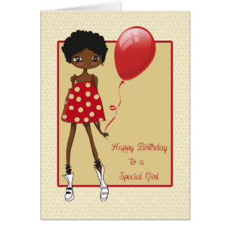 Modern African American Girl, Birthday Card