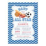 Modern All Star Sports Boys Baby Shower 13 Cm X 18 Cm Invitation Card