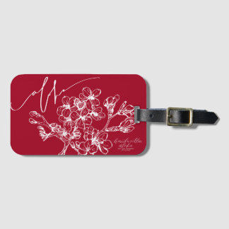Modern Aloha Red Cherry Blossom Luggage Tags