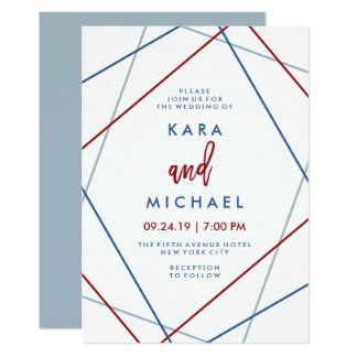 Modern American | Patriotic Geometric Wedding Card