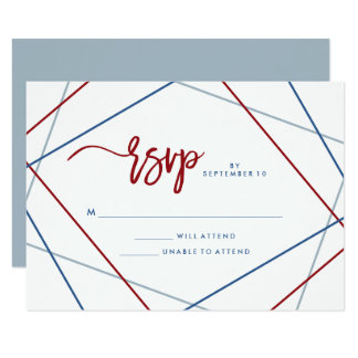 Modern American | Patriotic Geometric Wedding RSVP Card