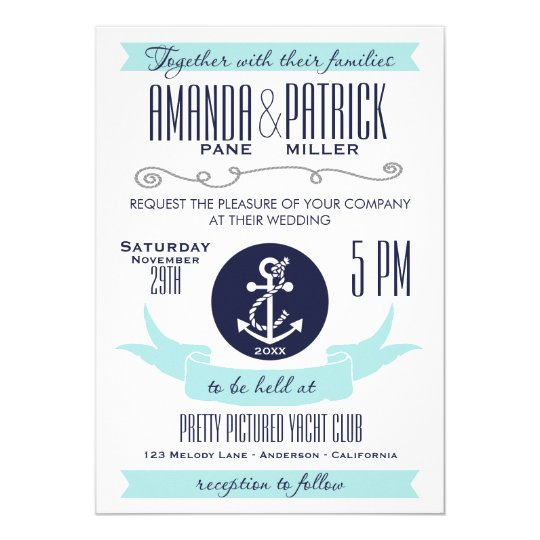 Modern Anchor Blue Nautical Wedding Invitations