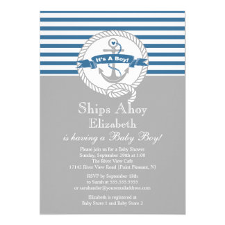 Modern Anchor Nautical Sailboat Boy Baby Shower Card