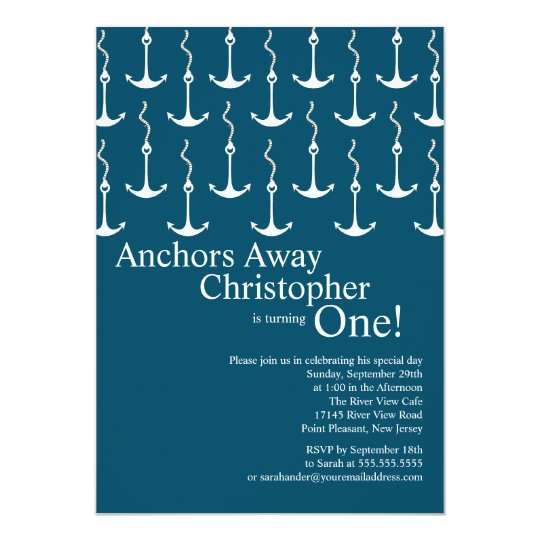 Modern Anchors Away Boy 1st Birthday Party Card