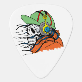 Modern and Colorful Skull with Headphones Plectrum