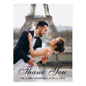 Modern and Elegant Wedding Photo Thank You Postcard