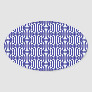 Modern and Fun Colbalt Blue Circle Pattern Oval Stickers