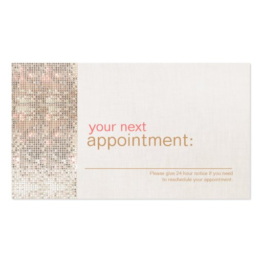 Modern and Hip Business Sequin Appointment Card 1 Business Card Templates