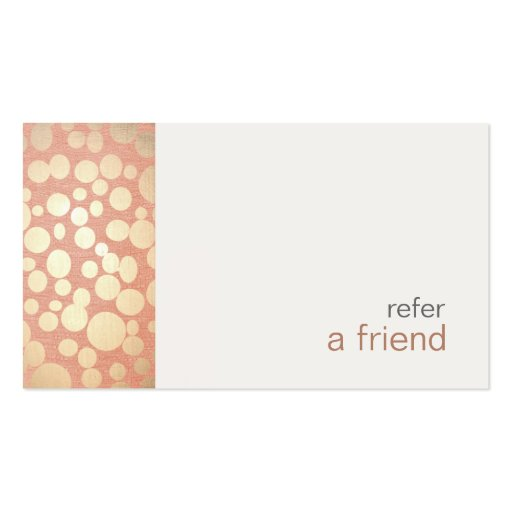 Modern and Hip Gold  Refer A Friend Coupon Salon Business Card Template