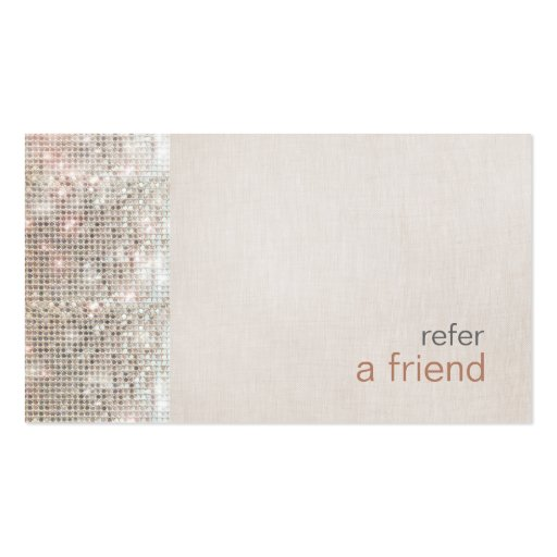 Modern and Hip Sequins Refer A Friend Salon Coupon Business Card Template
