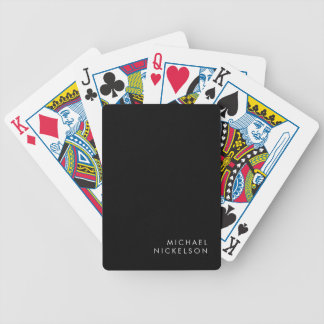 Modern and Minimal Black and White   Add your Name Bicycle Playing Cards