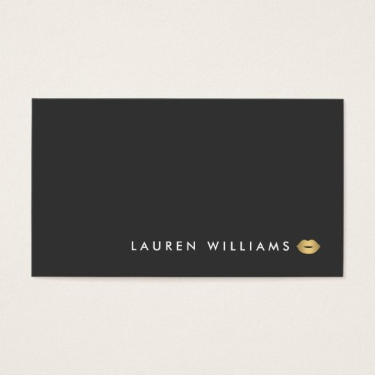 Modern and Minimal Gold Lips Beauty Business Card