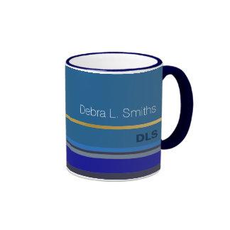 modern and personalized blue ringer mug