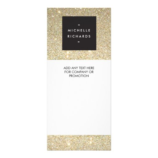 MODERN and SIMPLE BLACK BOX on GOLD GLITTER Personalized Rack Card